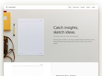 Sneakpeekit 2: Site Design one page sketch sheets pdf template wireframing free freebie design