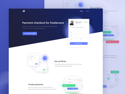 Wirize freelancers stripe landing payments