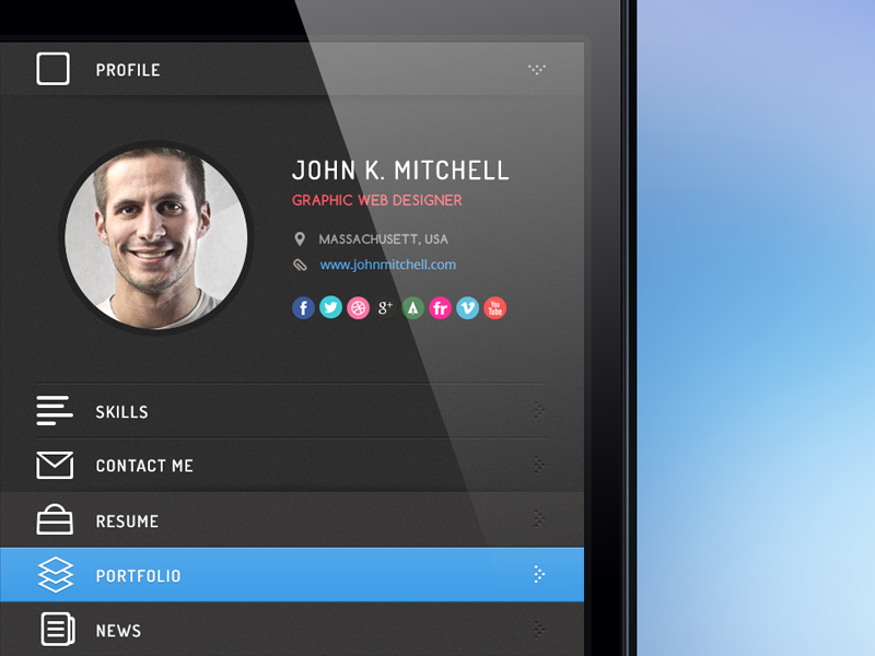 resume app ui by pasquale vitiello