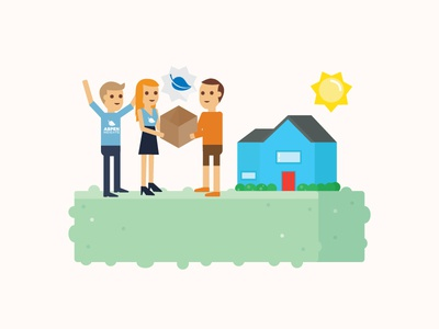 It's Move-In Time! grass isometric residents houses house people illustrations illustration flat