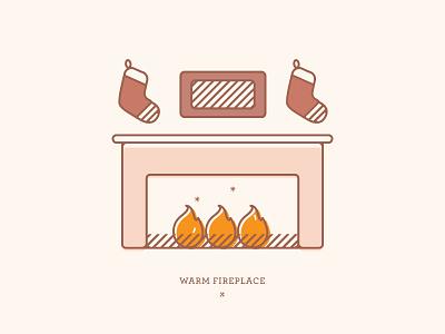 Warm Fireplace | Illustration yule winter christmas stockings fire drawing illustration holiday card holidays warm fireplace