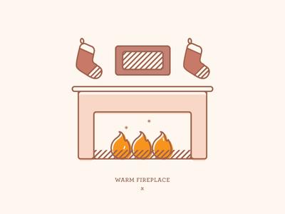 Warm Fireplace   Illustration yule winter christmas stockings fire drawing illustration holiday card holidays warm fireplace