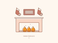 Warm Fireplace   Illustration