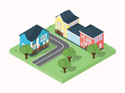 Aspen Heights Neighborhood   Isometric Illustration architecture cottage vector land road tree house houses illustrations isometric illustrations isometric illustration