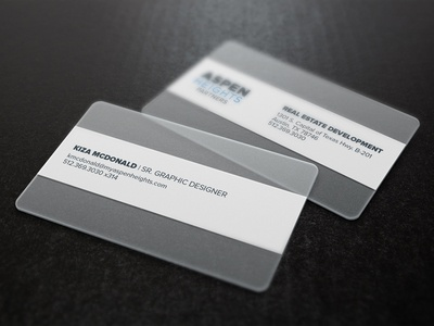 Modern, Sleek, Corporate Business Cards   Aspen Heights Partners plastic business card business cards frosted modern transparent collateral clear branding identity cards