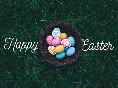 Happy Easter Line Illustration Embellishment   Oak Group photography holiday illustration script font nest eggs line art typography easter
