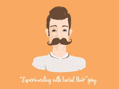 Experimenting with Facial Hair Guy   Concord Apartments flat portrait face character vector avatar man moustache hipster person people illustration
