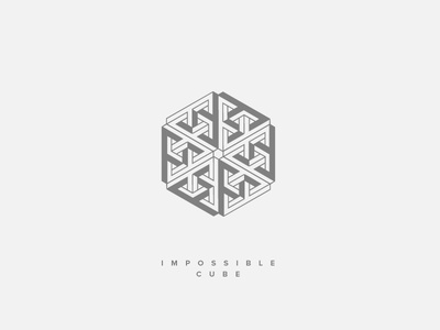 Nearly Impossible Cube   Escher Optical Illusion Line Art escher vector logo line art illustration impossible impossible shapes geometric optical illusion