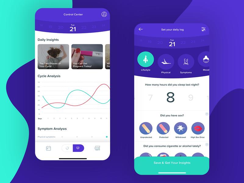 Cycle Tracker daily helper personal woman product design product design project interface interaction ios app visual design new ux ui