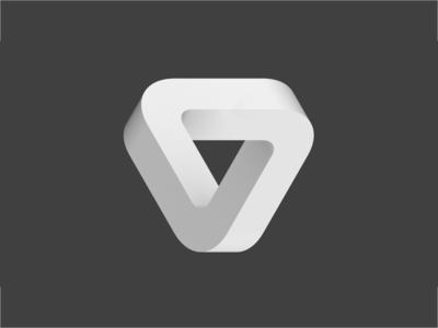 Impossible Triangle logo blender 3d triangle art escher