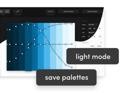 Palettte App - Light Mode dashboard interface sketch figma editor curvy curly swirl blue palette light mode dark mode