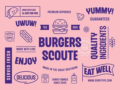 Chedros illustraion branding logotype logos packging burger playful typeface fonts surotype