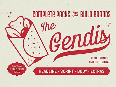 Gendis Fonts Pack illustration label creative logotype vintage retro lettering branding typography surotype