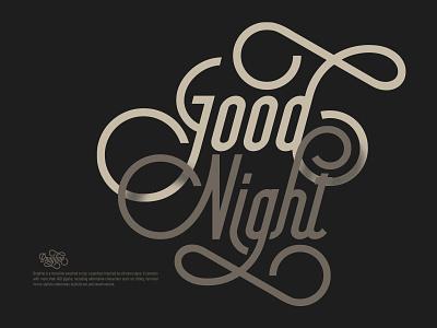 Good Night monoline cursive clean flourish retro vintage logotype typography lettering