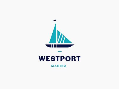 Westport Marina sailboat sail daily logo daily logo challenge blue port westport marina boat logo