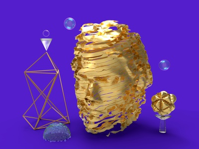 Narcissistic Tendencies explode voronoi bust head abstract art abstract wires glass golden generative pattern bubble purple render keyshot cinema4d gold design illustration 3d