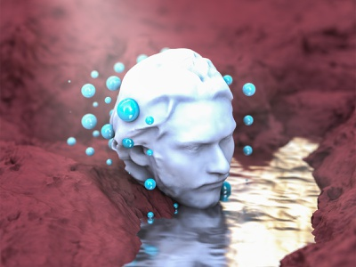 Narcissistic Tendencies II mars red simple plastic marble texture surreal blue abstract render cinema 4d cinema4d subsurface subsurface scattering marble design illustration 3d