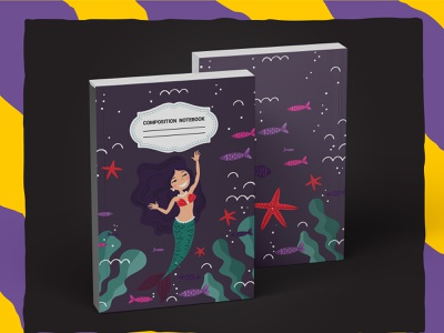 Mermaid Composition Notebook For KDP book cover kdp graphic design