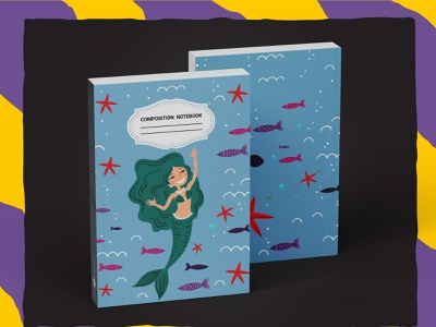 Mermaid Composition Notebook For KDP book cover kdp