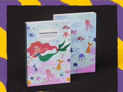 Mermaid Composition Notebook For KDP kdp book cover graphic design