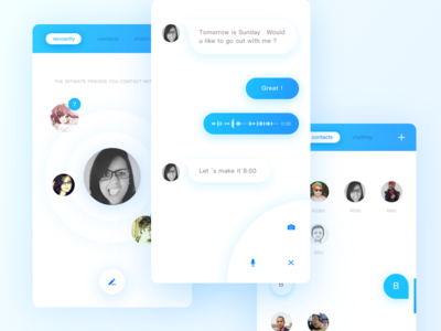Chatting Tool floating white neat blue ui chatting