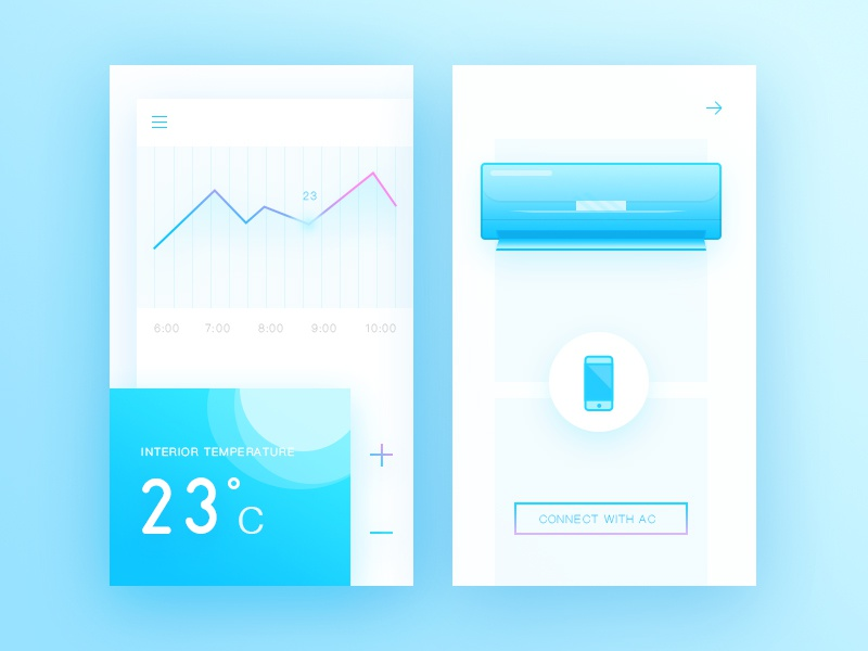 Air Condition Control app ac air condition neat card blue