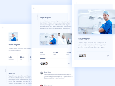 Social Network APP-Concept medical service blue ios white ppt word app ui social network neat card