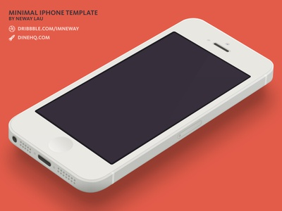Minimal iPhone 5 [White] Template [PSD] psd iphone template iphone 5 freebie 3d flat minimal dinehq download free