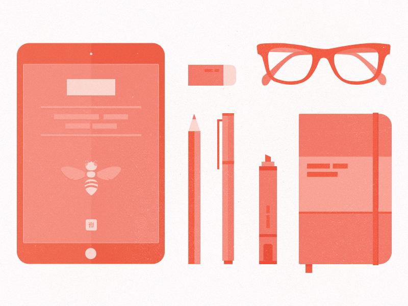 Reading Kit illustration icon red contrast ipad ipad mini pen pencil glasses moleskin notebook eraser tangcha