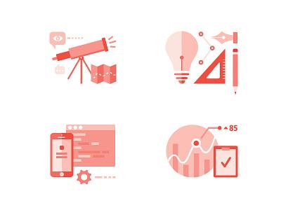 Design Process code bulb pen illustration monochrome graph dine telescope discover design idea iphone