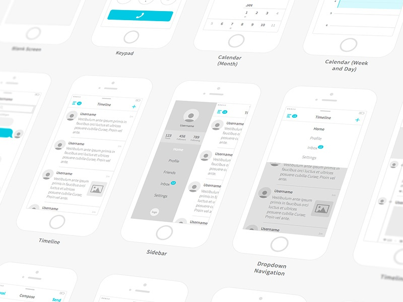 Kitchenware Pro - Wireframe Kit clean flow ui ios wirefame minimal app
