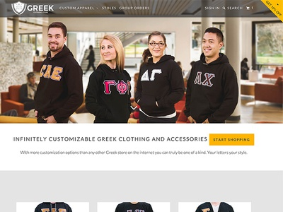 Greek Clothing Home Page photography web design home page