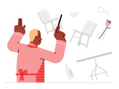 Kitchen Conductor conductor kitchen yelp girl character art vector illustrator design illustration