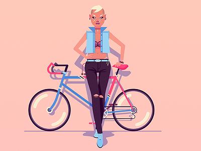 Biker Chica art design woman girl bike illustrator illustration