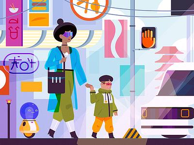 The Future of Tech robots scifi woman technology future design illustrator illustration art