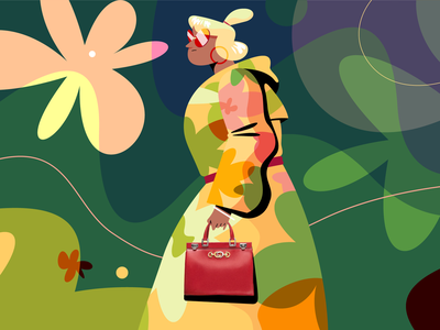 It's All Gucci handbag gucci girl character vector illustrator design illustration