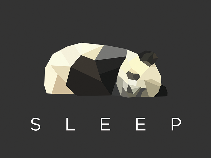 sleeping panda low poly mascot