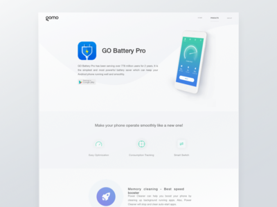 Landing page landing page ios android page landing battery clean white blue web