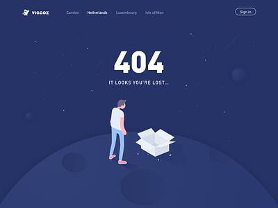 404 error page. spaceship lost error astronaut web ux universe ui space planet illustration 404