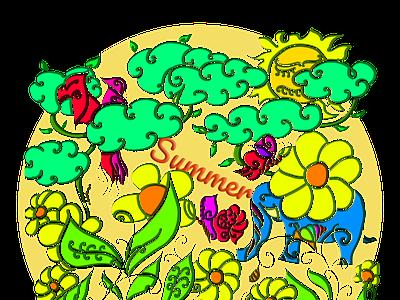 natural summer sketch draw illustration design graphic design
