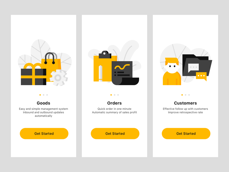Redesign  of the previous Illustration e-commerce black yellow illstration