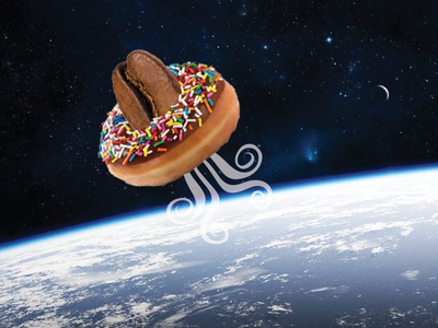 Coffee Spaceship hashtag donut coffee dreams art