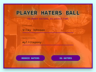 DAILY UI #1 - LOG IN dailyui tricks marks players haters playerhatersball