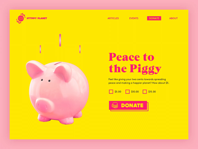 ✌️✌️✌️🐷 donation donate sketch yellow pink design blog article typography dailyui layout ui