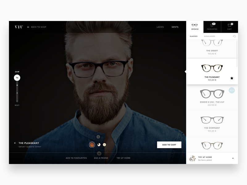 Virtual Glass Try Concept UI WIP concept user interface ui virtual sunglasses glasses