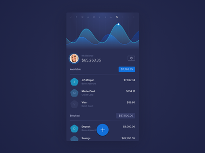 Finance app - overview paying account money