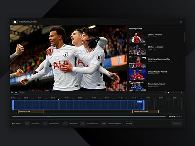 Video editor concept sports bar concept web app flat dark ui