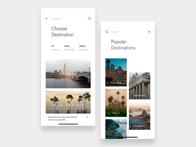 Travel Destination & Search search travel light flat app ios ui