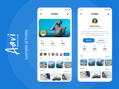 Profile Example from Aavi Mobile App UI Kit blue ux modern ios profile ui mobile design clean app
