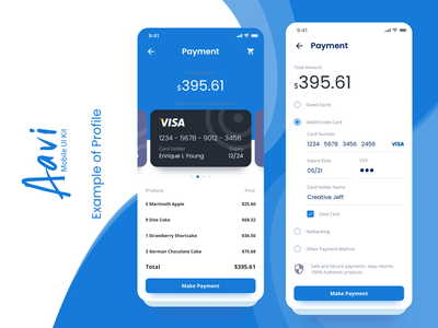 Payments Example from Aavi Mobile App UI Kit branding checkout payment blue ux modern ui mobile design clean app